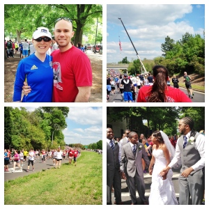 A beautiful day for a wedding and a run. This awesome couple joined in as well.